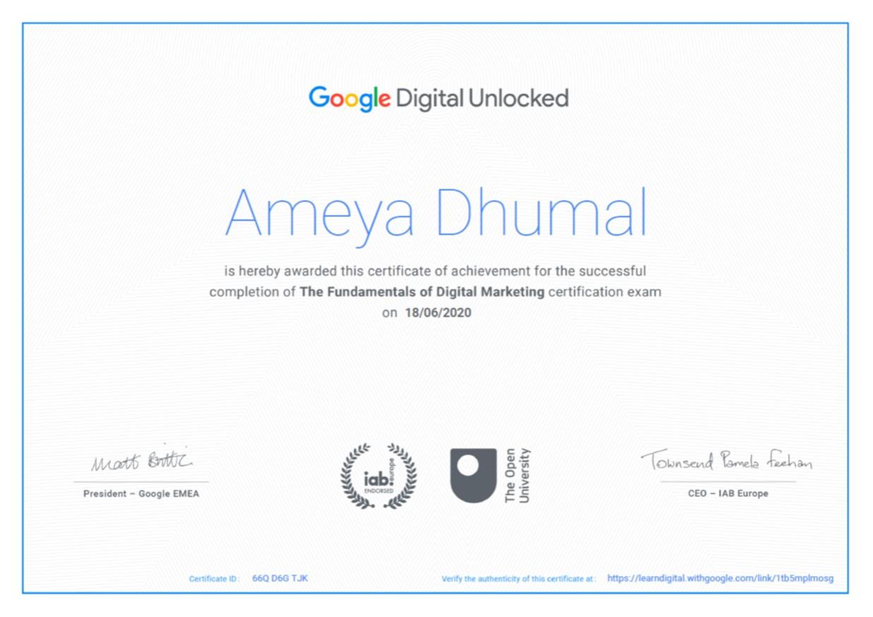 Google Certificate Ameya